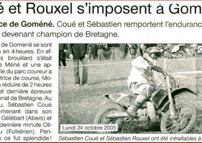 2005 10 24 - Ouest France - Coué et Rouxel s'imposent à Goméné