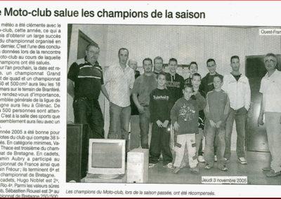 2005 11 03 - Ouest France - Le Moto-Club salue ses champions de la saison