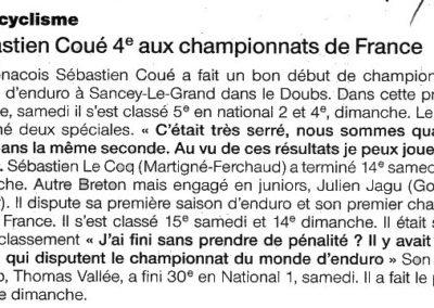 2011 04 19 - Ouest France - Sébastien Coué,4ème au championnat de France