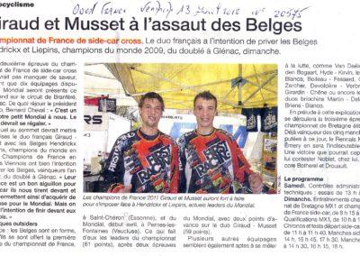 2012 04 13 - Ouest France - Giraud et Musset à l'assaut des Belges
