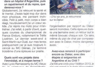 2012 09 14 - Ouest France - Coué, je me croyais invicible