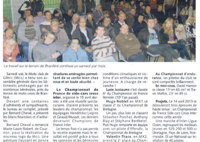2012 11 13 - Les Infos - Trois épreuves relevées le 14 avril