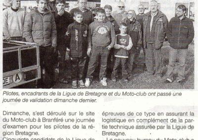 2012 12 05 - Ouest France - journée d'examen à Glénac