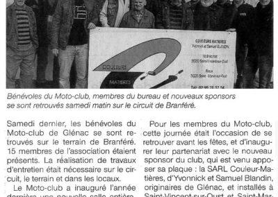 2012 12 19 - Ouest France - Des travaux d'entretien réalisés au terr du Moto-Club