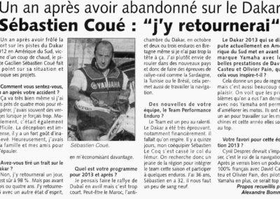 2013 01 16 - Les Infos - Sébastien Coué, j'y retournerai