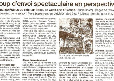 2013 04 10 - Ouest France - Un coup d'envoi spectaculaire en perpective