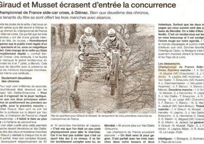 2013 04 15 - Ouest France - Giraud et Musset écrasent d'entrée la concurence