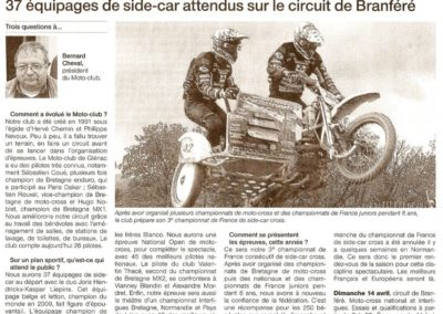 2013 04 16 - Ouest France - 37 équipage de side-car attendus sur le circuit de Branféré
