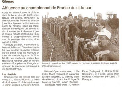 2013 04 16 - Ouest France - Affluence au championnat de France de Side-car