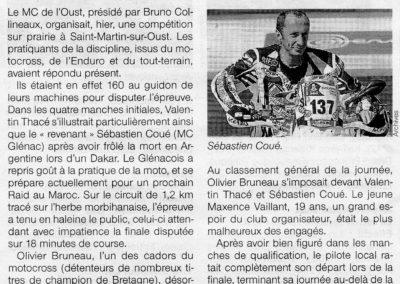 2013 09 09 - Ouest France -Bruneau s'impose, Coué revient