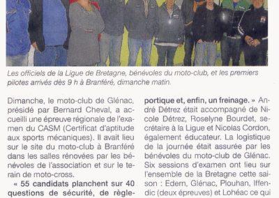 2013 11 12 - Ouest France- Des examens avec la Ligue de Bretagne