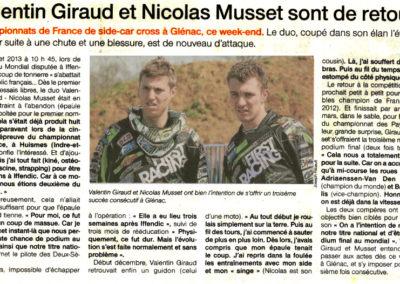 2014 03 15 - Ouest France - Valentin Giraud et Nicolas Musset sont de retour