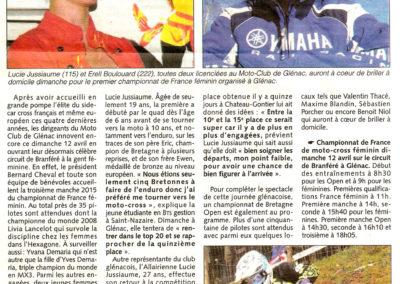 2015 04 08 - Les Infos - Honneur aux femmes à Génac