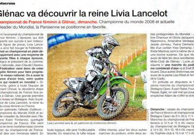 2015 04 11 - Ouest France - Glénac va découvrir la reine LIvia Lancelot