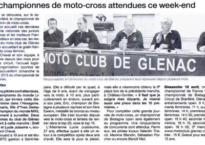2015 04 11 - Ouest France - Les championnes attendues ce week-end