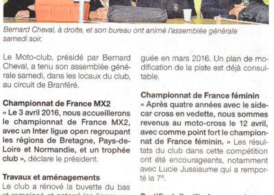 2015 11 10 - Ouest France - un championnat de France en avril pour le moto-club