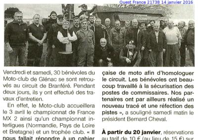 2016 01 14 - Ouest France - Les bénévoles vont entretenir le circuit
