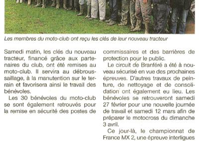 2016 02 17 - Les Infos - Le Motoclub investit dans un tracteuur