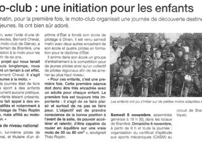 2016 10 20 - Ouest FranceMoto-club initiation pour les enfants