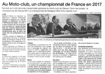2016 11 14 - Ouest France - Au Motoclub un championnat de France