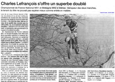 2018 03 26 - Ouest France - LEFRANCOIS s'offre un doublé