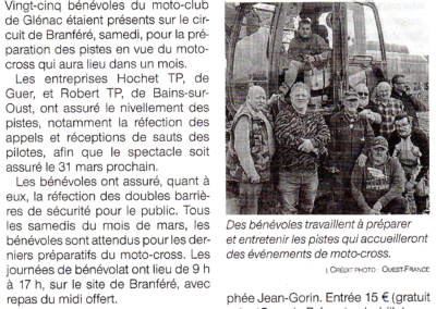 2019 03 06 - Ouest France - Les bénévoles préparent le terrain