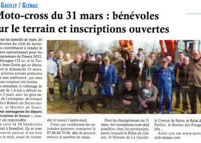 2019 03 13 - Les Infos - Bénévoles sur le terrain et inscriptions ouvertes