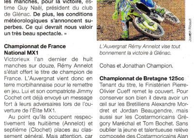 2019 03 19 - Ouest France - Rémy Annelot remet son titre en jeu