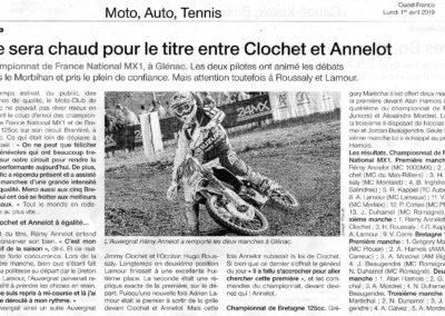 2019 04 01 - Ouest France - Ce sera chaud pour le titre entre Clochet et Annelot