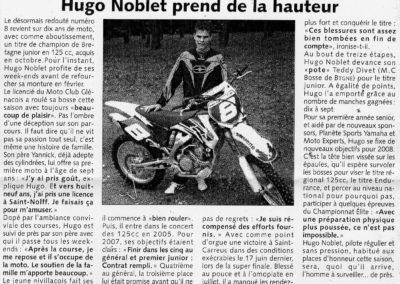 Hugo NOBLET, Champion de Bretagne Junior